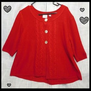 Kim Rogers-Red Sweater Cape Cashmalon Large